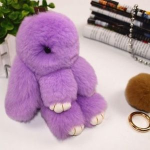 Amethyst Fluffy Bunny Keyring